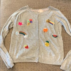 Girls cardigan sweater gray with sequence